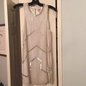 Parker White Silk Beaded Party Dress, Retail $298